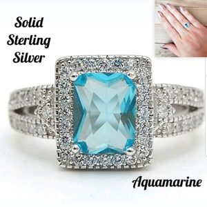 Jewelry - 💋2 CT Aquamarine Sterling Silver Ring 7